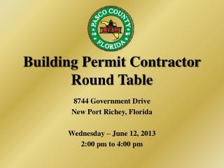 Building Permit Contractor Round Table