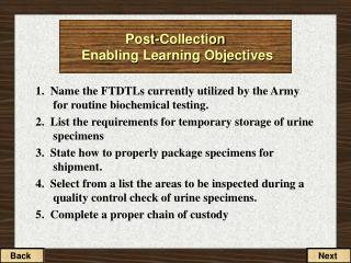 Post-Collection  Enabling Learning Objectives