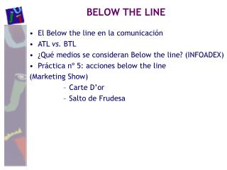 El Below the line en la comunicación ATL  vs.  BTL