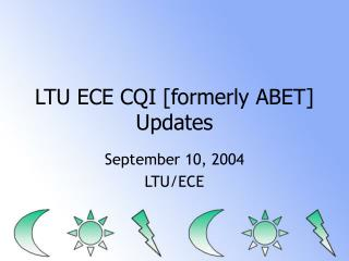 LTU ECE CQI [formerly ABET] Updates