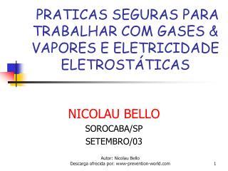 PRATICAS SEGURAS PARA TRABALHAR COM GASES & VAPORES E ELETRICIDADE ELETROSTÁTICAS
