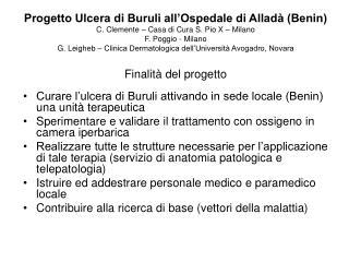 Curare l'ulcera di Buruli attivando in sede locale (Benin) una unità terapeutica