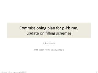 Commissioning plan for p- Pb run, update on filling schemes