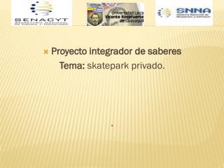Proyecto  integrador de saberes Tema: skatepark  privado. .