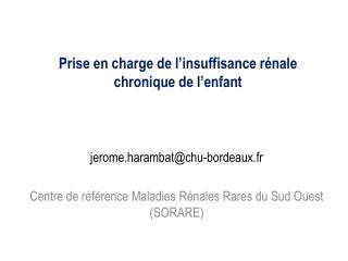 jerome.harambat@chu-bordeaux.fr Centre de référence Maladies Rénales Rares du Sud Ouest (SORARE)