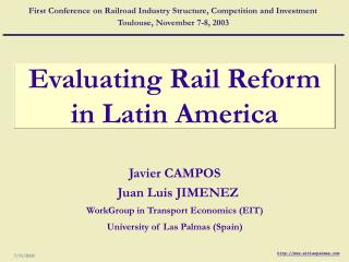 Evaluating Rail Reform in Latin America