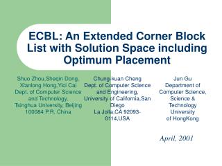 ECBL: An Extended Corner Block List with Solution Space including Optimum Placement
