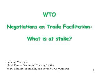 WTO  Negotiations on  Trade  Facilitation: W hat is  at  s take ?