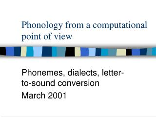 Phonology from a computational point of view