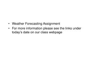 Weather Forecasting Assignment