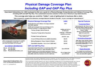 Physical Damage Coverage Plan Including GAP and GAP Pay Plus