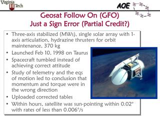 Geosat Follow On (GFO) Just a Sign Error (Partial Credit?)