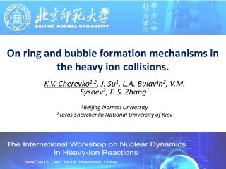 On ring and bubble formation mechanisms in the heavy ion collisions.