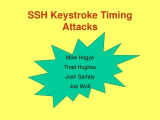 SSH Keystroke Timing Attacks