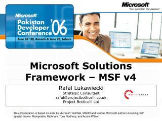 Microsoft Solutions Framework   MSF v4
