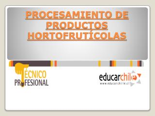 PROCESAMIENTO DE PRODUCTOS HORTOFRUTÍCOLAS