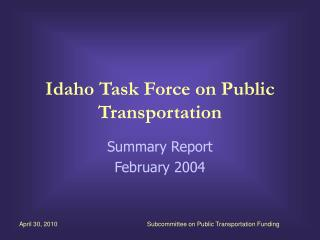Idaho Task Force on Public Transportation