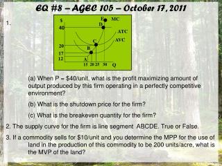 EQ #8 – AGEC 105 – October 17, 2011