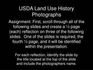 USDA Land Use History Photographs