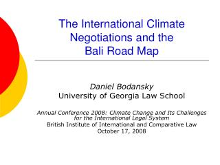 The International Climate Negotiations and the  Bali Road Map