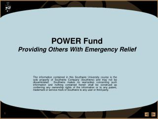 POWER Fund Providing Others With Emergency Relief