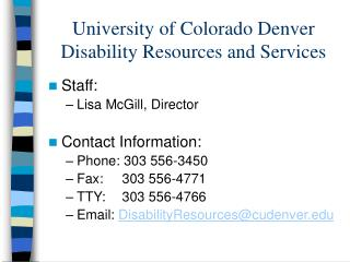 University of Colorado Denver Disability Resources and Services