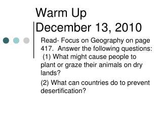 Warm Up December 13, 2010