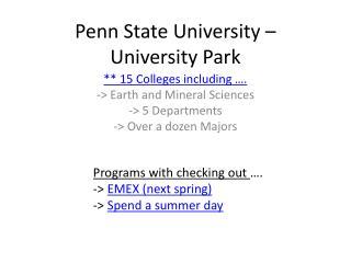 Penn State University – University Park