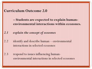 Curriculum Outcome 2.0