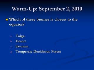 Warm-Up : September 2, 2010