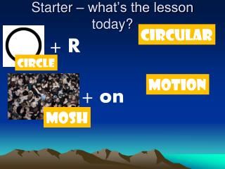 Starter – what's the lesson today?