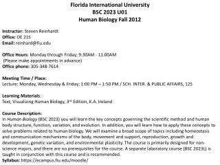 Human Biology BSC 2023  U02 Florida International University