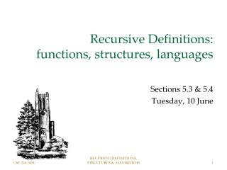 Recursive Definitions:  functions, structures, languages