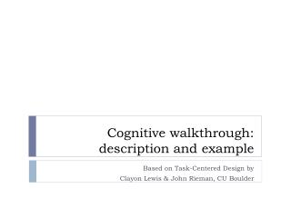 Cognitive walkthrough: description and example