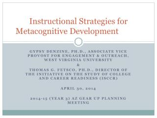 Instructional Strategies for Metacognitive Development
