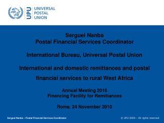 Serguei Nanba – Postal Financial Services Coordinator