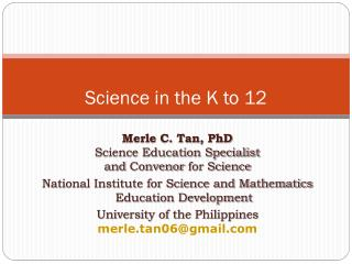 Science in the K to 12