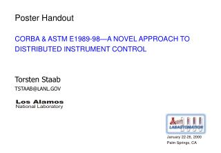 CORBA & ASTM E1989-98—A NOVEL APPROACH TO DISTRIBUTED INSTRUMENT CONTROL