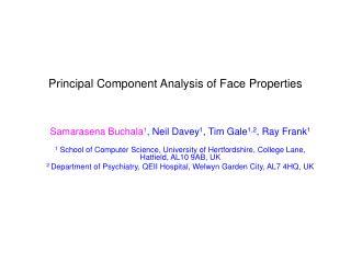 Principal Component Analysis of Face Properties