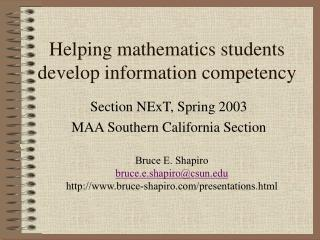 Helping mathematics students develop information competency