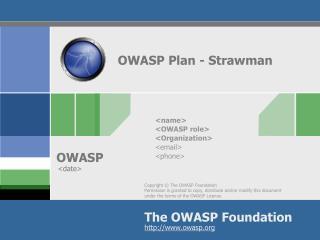 OWASP Plan - Strawman
