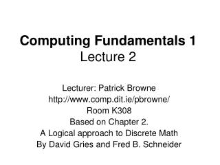 Computing Fundamentals 1 Lecture 2