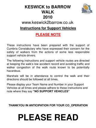 Instructions for Support Vehicles PLEASE NOTE