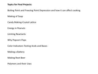Topics for Final Projects: