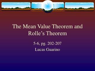 The Mean Value Theorem and Rolle's Theorem