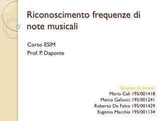 Riconoscimento frequenze di note musicali