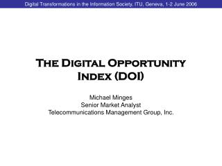 The Digital Opportunity Index (DOI)
