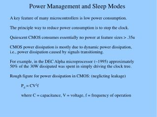 Power Management and Sleep Modes