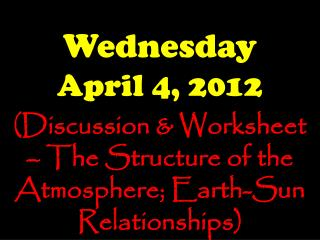 Wednesday April  4,  2012