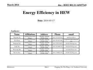 Energy Efficiency in HEW